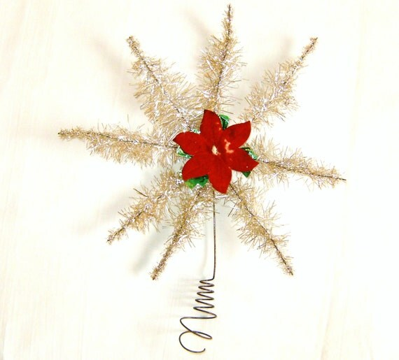 1930s Vintage Tinsel Christmas Tree Topper Star Or Snowflake Shaped Silver And Gold Red Poinsettia