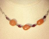 Gemstone Jewelry - Peach Aventurine and Garnets