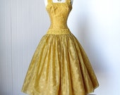 vintage 1950's dress ...decadent GOLD EMBROIDERED ORGANZA floral full skirt pin-up cocktail party dress with tulle crinoline underskirt