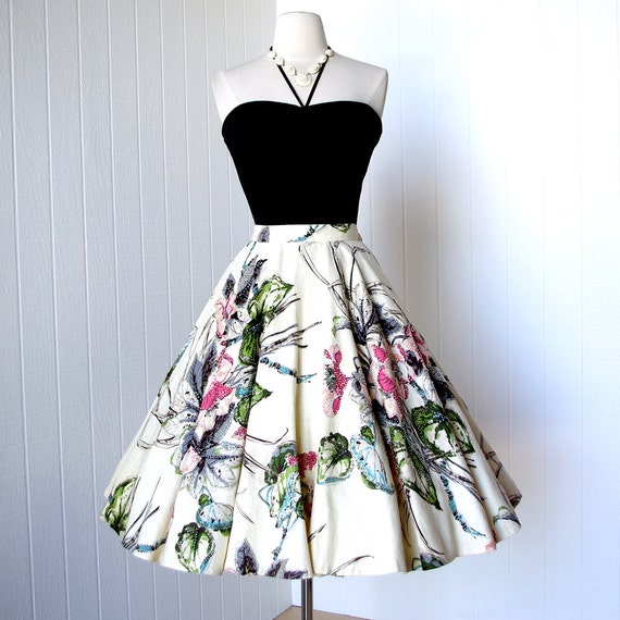 vintage 1950's dress skirt ...absolutely stunning BEADED FLORAL vat dyes full circle pin-up party cocktail skirt
