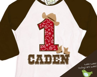cowboy birthday shirt  (or cowgirl shirt) buckaroo birthday party theme RAGLAN shirt
