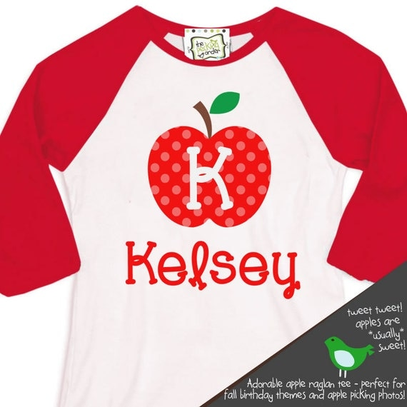 apple picking raglan sleeve tee - perfect for fall birthday parties