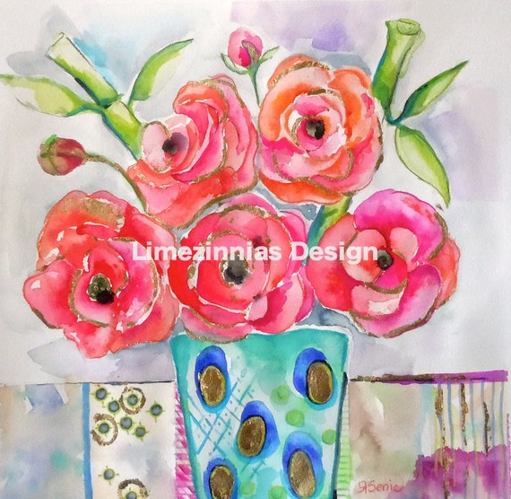 Peonies in a Vase -  Original Watercolor Painting - 12x12
