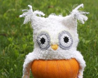 Owl hat, Baby hat, Baby owl hat, baby owl hat, White owl hat, Crochet hat