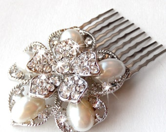 Comb - Rhinestone & Pearl Flower Hair Comb - Silver Hairpiece - Vintage Style Hair Piece - Brooch Comb - Floral