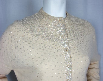Vintage 1960s Cashmere Sequined Sweater, Sz M