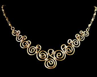 Wire sculpted Vintage Bronze Necklace.