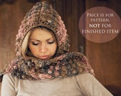 Instant download - Hat and scarf Crochet PATTERN (pdf file) - Pom-pom scarf with hoodie (sizes baby to adult)