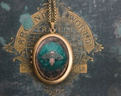Honey Bee Locket - Large, oval, vintage inspired pendant in brass with luminous artwork - Emerald green velvet background with golden bee