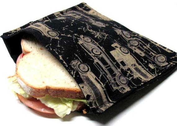 Reusable Sandwich Bag, Antique Automobiles,  Eco Friendly Lunch Bag, Snack Bag, Men, Cars Ready to Ship