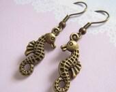 Miniature Seahorse Earrings, Antiqued Brass Seahorse Dangle Earrings, Beach Party Jewelry