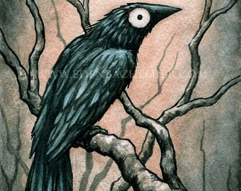 Signed and matted print of original Black Bird II watercolour painting by Eden Bachelder, ready to frame. Raven, crow, corvid