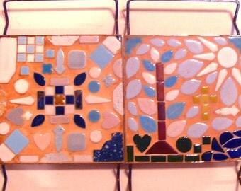 Mosaic Mid Century Trivet Set Sun Moon Abstract Retro Tiles Brass Tree Kitchen Decor