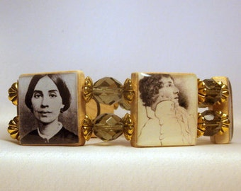 POETRY LOVER Jewelry / Upcycled SCRABBLE Bracelet / Keats / Dickinson / Bronte / Longfellow / Browning / Book Worm Gift