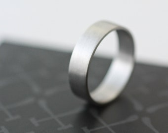 Palladium Wedding Band 4mm All Recycled Metal Hand Forged Eco Friendly Metal
