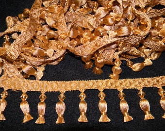Gold Fringe Trim with Crystals and Tassels