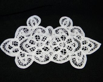 White Cotton Battenburg Lace Applique