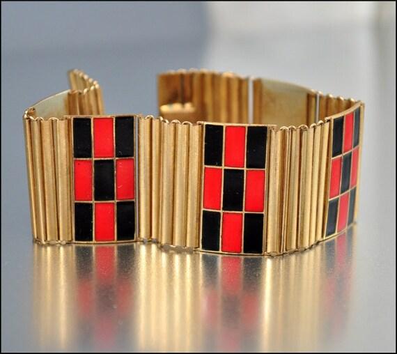 Art Deco Bracelet Gold Enamel Geometric German Kollmar Jourdan Wide 1930s Vintage Jewelry