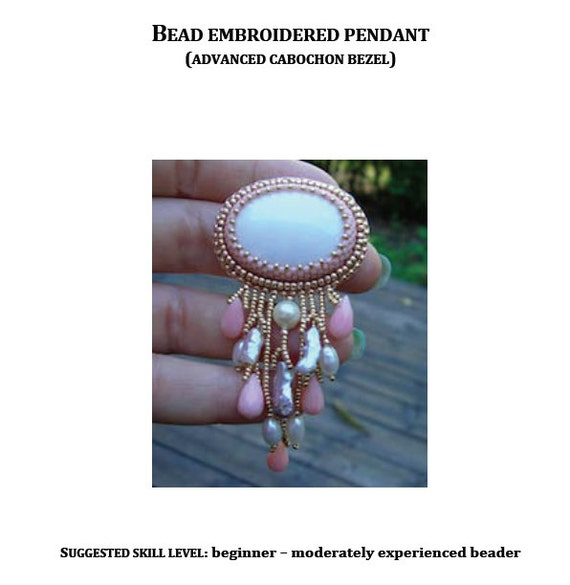 Tutorial bead embroidered pendant with fringe