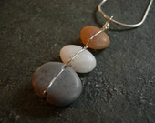 beach stone and sterling silver cairns necklace