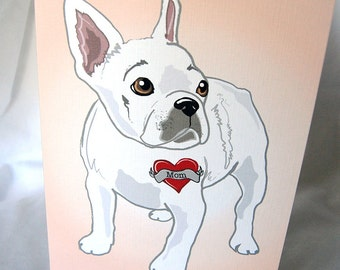 Custom Frenchie Tattoo Greeting Card - In White