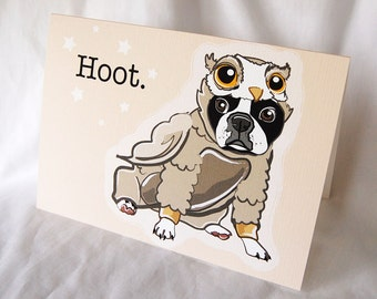 Lil Owl Boston Terrier Greeting Card