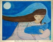 Blessed Mother Mary - Holding Onto Hope - Folk Art - Print of Original Painting by Gina Arzaga
