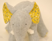 Fanny Grey - Plush Gray Fleece Elephant with yellow and grey retro flowers on her tummy and soft chenille tusks