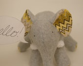 Chester Grey - Plush Gray Fleece Elephant with yellow and grey and yellow chevron tummy and soft chenille tusks