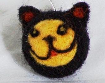 Miniature Halloween Ornament - Needle Felted Black Cat