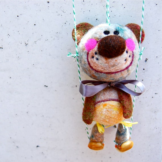 Needle Felted One of a Kind Dancing Teddy Bear Marionette
