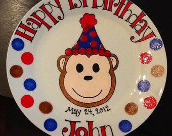 Personalized Happy Birthday Plate . Hand Painted . Mod Cute Sock Monkey for Boy or Girl. Great for First Birthday Party