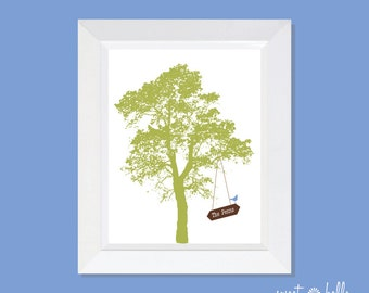 Personalized Family Print / Wall Print / Family Print / Wall Art / Tree Print / Family Art - Hanging Family Name