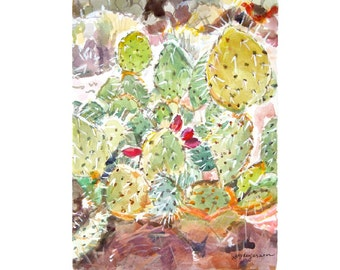 Southwestern Art Painting Cactus Watercolor Painting Home Decor Succulents Cacti  8x10 Print Southwest Still Life Painting Gwen Meyerson