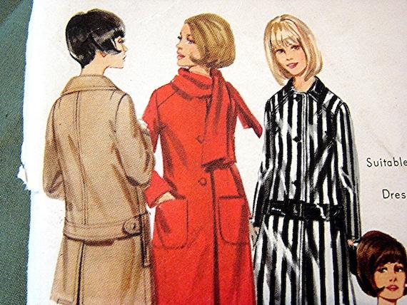 Butterick 1960s Coat Pattern Misses size 12 UNCUT Suitable for Vinyl Raincoat Vintage Sewing Pattern
