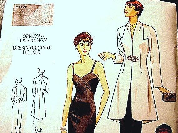 1930s Retro Vogue Dessin Original Designer Dress Pattern with Jacket Misses size 12 14 16 UNCUT
