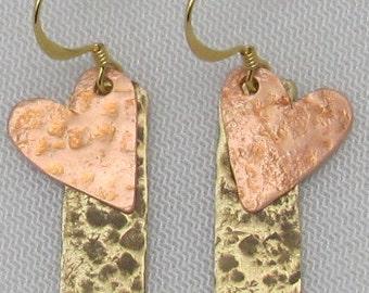 Copper and Brass Rectangle Earrings - Brass Cymbol Earrings, Heart Earrings. ONSALE.