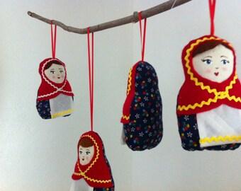 Nesting Doll Crib Mobile, Baby Mobile, Matryoshka Dolls Nursery Mobile, Felt Mobile