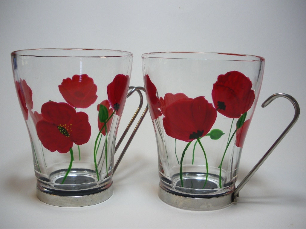 Modern Functional Glass Cups Hand Painted Red Poppies Set Of