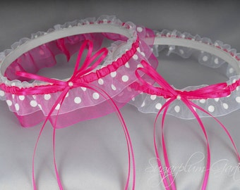 Wedding Garter Set in Hot Pink and White Polka Dot with Pearls