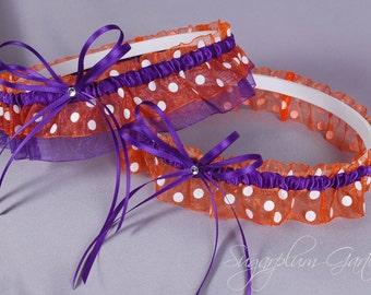 Wedding Garter Set in Orange Polka Dot and Purple with Swarovski Crystals