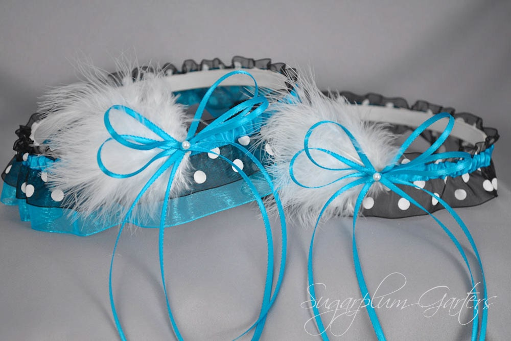 Wedding Garter Set In Turquoise And Black Polka Dot With