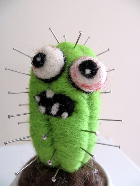Needle Felted Cactus Zombie Pincushion - Mini Version -  Made to Order