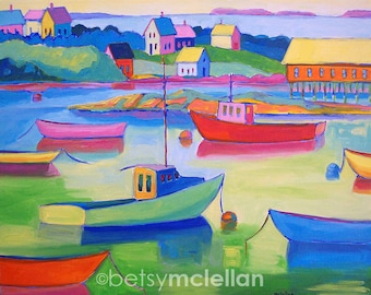 Whimsical Boats - Boat Art - Paper - Canvas - Wood Block