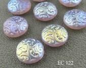 Czech Glass Brocade Coin Beads Pale Lavender (EC 122) blueecho 6 pcs