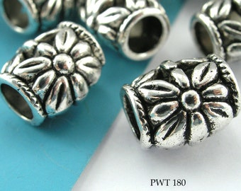 11mm Large Hole Beads Pewter Barrel Flower, Antique Silver (PWT 180)  10 pcs BlueEchoBeads