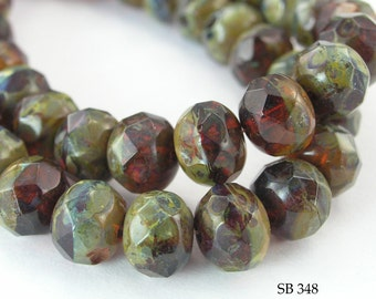 8mm Faceted Czech Glass Rondelle Beads Evergreen (SB 348) 12 pcs BlueEchoBeads