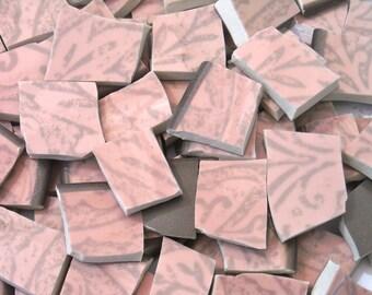 Mauve and Brown Mosaic Tiles cut Plates S14