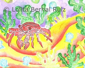 Red Crab painting / ocean marine art / crab illustration / nursery decor / reproduction / 8 x 10 inch / P111