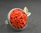 Sterling silver and 18k gold ring with orange vintage pressed glass cabochon